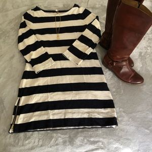 JCrew Women's Navy & Cream Striped Cotton Dress M